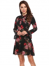 Black red Vintage Style Long Flare Sleeve Floral Dress