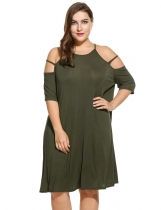 Women's Spaghetti Strap Cold Shoulder Half Sleeve Casual Dress Plus Size