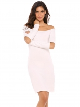 White Off The Shoulder Long Sleeve Slim Bodycon Dress