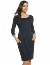 Navy blue 3/4 Sleeve Solid Ruched Bodycon Dress With Pockets