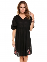 Black 3/4 Sleeve Floral V Neck Embroidery Bohemian Dress