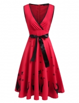 Red Sleeveless Print Cross Front V Neck Flare Dress