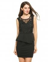 Women Hollow Out Embroidered Pencil Peplum Backless Dress