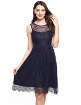 Navy blue O-Neck Sleeveless Floral Lace Tunic Tank Lace Party Dress