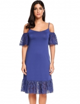 Dark blue Spaghetti Strap Lace Patchwork Pleated Hem Elastic Dress