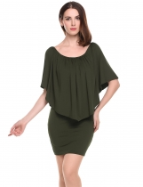 Army green Solid Ruffle Bodycon Mini Dress