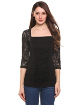 Black Square Neck 3/4 Sleeve Ruched Front Slim Lace Tops
