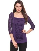 Purple Square Neck 3/4 Sleeve Ruched Front Slim Lace Tops
