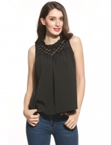 Black Ruffles Mock Neck Sleeveless Floral Lace Loose Tank Top