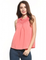 Orange Ruffles Mock Neck Sleeveless Floral Lace Loose Tank Top