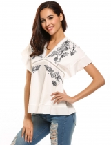 White and black Floral Printed V-Neck Ruffle Sleeve Tops