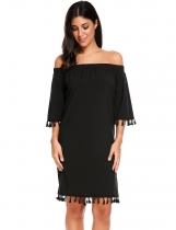 Black Off Shoulder Flare Sleeve Solid Tassel Loose Dress