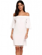 White Off Shoulder Flare Sleeve Solid Tassel Loose Dress