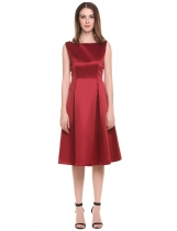 Wine red Boat Neck Sleeveless Solid Zipper Pleated Dress