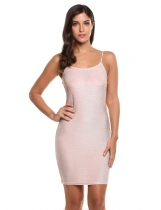 Apricot Spaghetti Strap Backless Metallic Clubwear Bodycon Party Dress