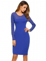 Blue Long Sleeve See Through Party Bodycon Pencil Going Out Dress