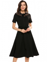 Black Vintage Styles Lace Patchwork Bow A-Line Elastic Casual Dress