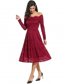 c5c4799641 30 % Wine red Vintage Styles Off Shoulder Lace Scallop Trim Dress with  Lining