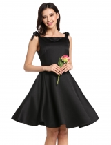 Black Square Neck Sleeveless Lace Up Vintage Style Bridesmaid Dress
