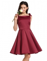 Wine red Square Neck Sleeveless Lace Up Vintage Style Bridesmaid Dress