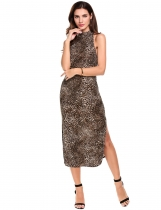 Dark brown Mulheres Halter mangas Side Slit Leopard Print Long Dress