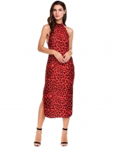 Red Halter Sleeveless Side Slit Leopard Print Going Out Dress