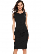 Black Sleeveless Pleated Elastic Package Hip Dress