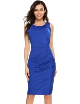 Blue Sleeveless Pleated Elastic Package Hip Dress