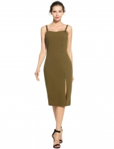 Verde del ejército Women Fashion Elegant Dual Strap Front Button Side Slit Solid Pencil Dress