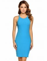 Blue Sleeveless Solid Spaghetti Straps Club Dress