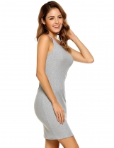 Grey Femmes Sexy sans manches Solid O Neck Pullover Spaghetti Straps Club Pencil Dress