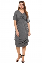 Dark gray Femmes Drawstring côté court ruché solide occasionnel robe