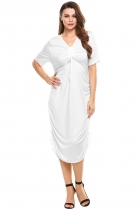 White Drawstring V-Neck Short Side Ruched Solid Casual Dress