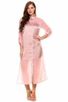 Pink Roll Up Sleeve Sheer Chiffon Split Casual Maxi Shirt Dress