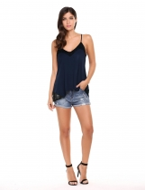 Navy blue Lace Patchwork Loose Sleeveless V Neck Pullover Tank Top