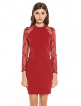 Vinho rouge Femme décontractée à manches longues Lace Patchwork Stand Collar Pullover Pencil Dress