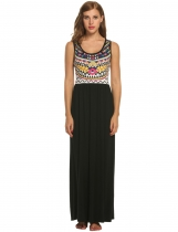Women's Summer Beach Print Sleeveless Tank Top Long Maxi Dress