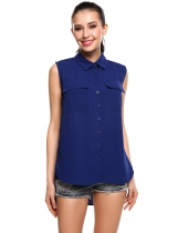 Blue New Women Sleeveless Button Down Chiffon Blouse Tank Shirt
