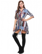 Blue Long Sleeve Half Placket Geometric Asymmetrical A-Line Shirt Dress