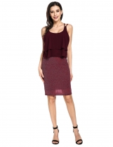 Wine red Sleeveless Layered Chiffon Glitter Cocktail Pencil Party Dress