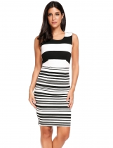 Sleeveless Striped Bodycon Tank Going Out Dress