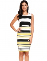Yellow Sleeveless Striped Bodycon Tank Going Out Dress