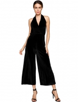 Black Halter Sleeveless Solid Backless Lint Wide Leg Jumpsuit
