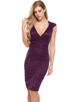 Purple Femmes Sexy V-Neck Cap Sleeve Floral Lace Package Hip Dress
