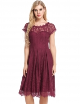 Wine red Floral Lace Hollow Out A-Line Pleated Hem Dress