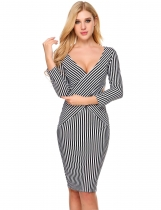 Black white 3/4 Sleeve Striped Cross Front Pencil Dress
