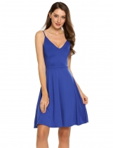 Blue Sleeveless Solid Spaghetti Straps Mini Dress