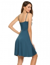 Peacock Blue Sleeveless Solid Spaghetti Straps Mini Dress