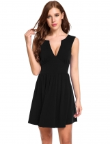 Black Sleeveless Double Deep V Neck Elastic Back Zip A-Line Pleated Hem Dress