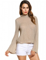 Khaki Back Lace Up Turtle Neck Long Sleeve Solid Slim Pullover Top